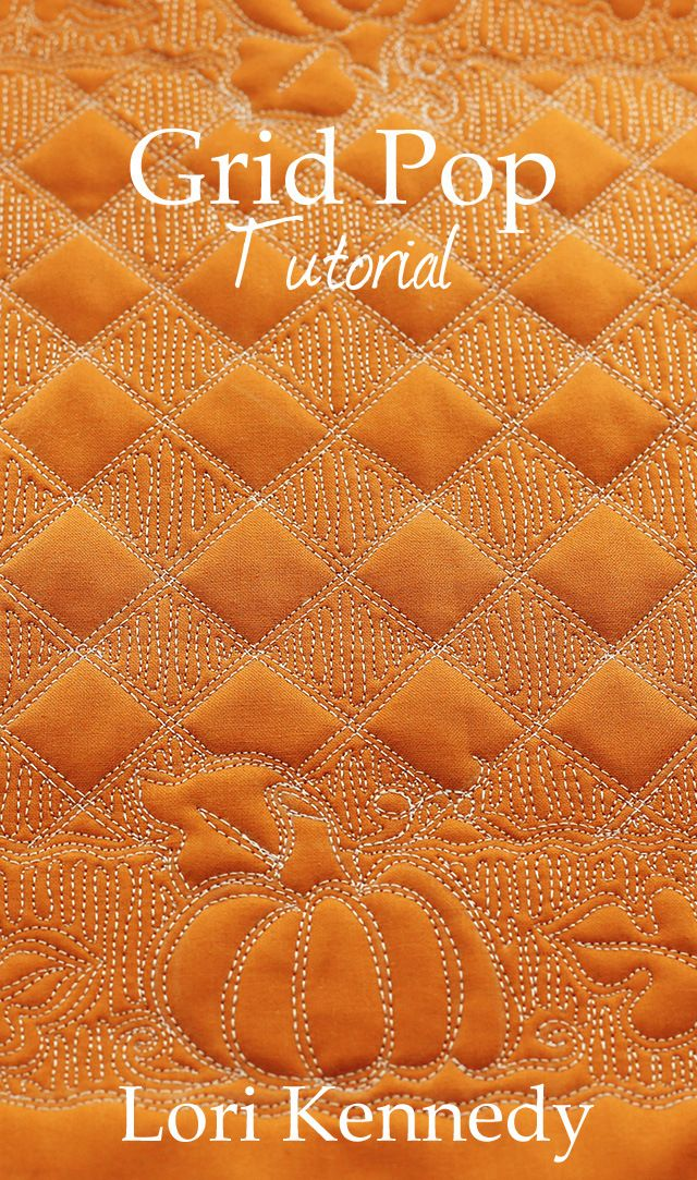 Grid Pop, Pumpkin Free Motion Quilting
