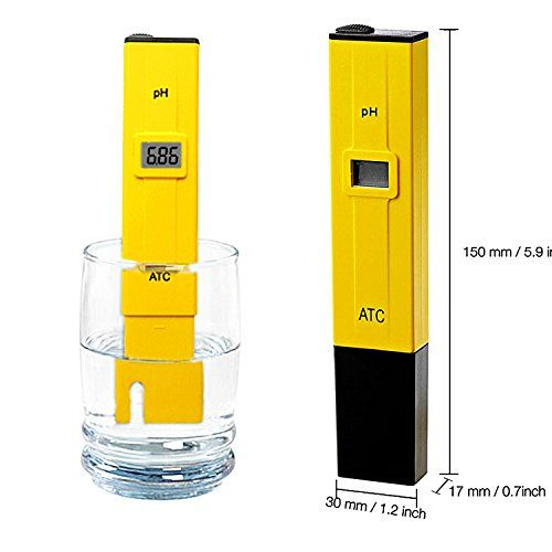 PH Water Meter, Alucky Electric Pocket Digital Water Quality Tester of 0.05pH Accuracy PH Meter Hydroponics Pen with LCD Display (Yellow)