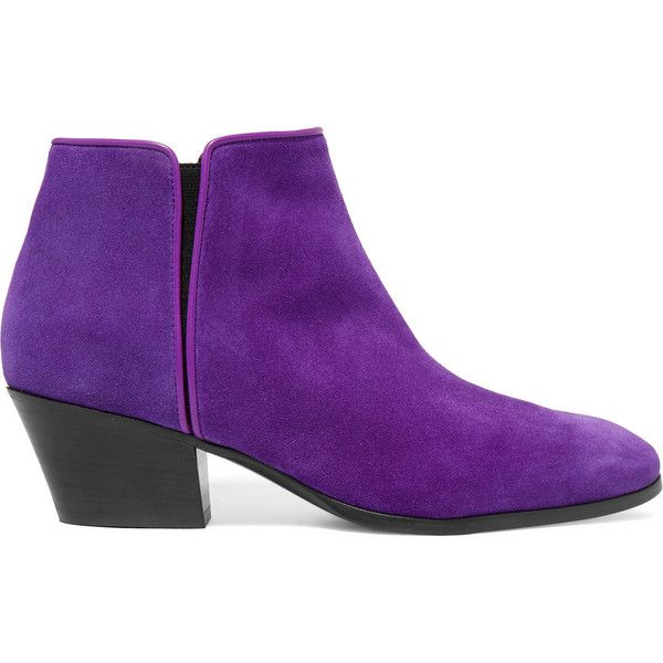 Giuseppe Zanotti Leather-trimmed suede ankle boots (£254) ❤ liked on Polyvore featuring shoes, boots, ankle booties, purple, suede ankle booties, suede booties, ankle boots, suede ankle boots and giuseppe zanotti booties