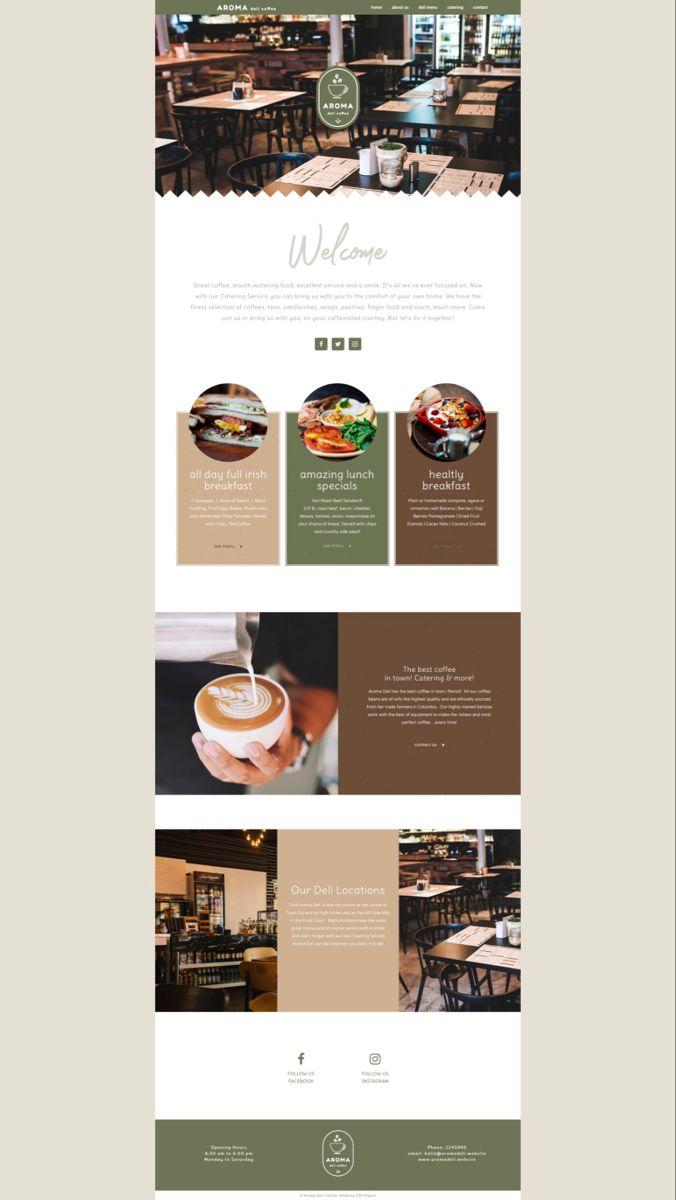 Web Design Aroma Coffee In 2020 Coffee Shop Website Website Design Inspiration Web Design