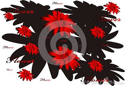 Vector floral pattern, red caption and floral silhouette background.