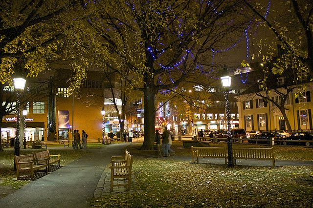 Winthrop Square Park at night, Harvard Square, Cambridge, MA..... i absolutely LOVE this city. I cannot wait to go back.