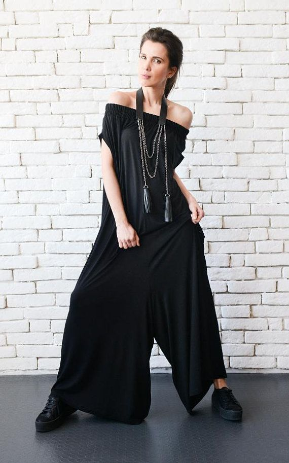 7a7e5a571ff NEW Black Maxi Jumpsuit Extravagant Wide Leg Romper Plus Size Long Jumpsuit Everyday  Casual Jumpsuit Black Loose One Piece Oversize Romper
