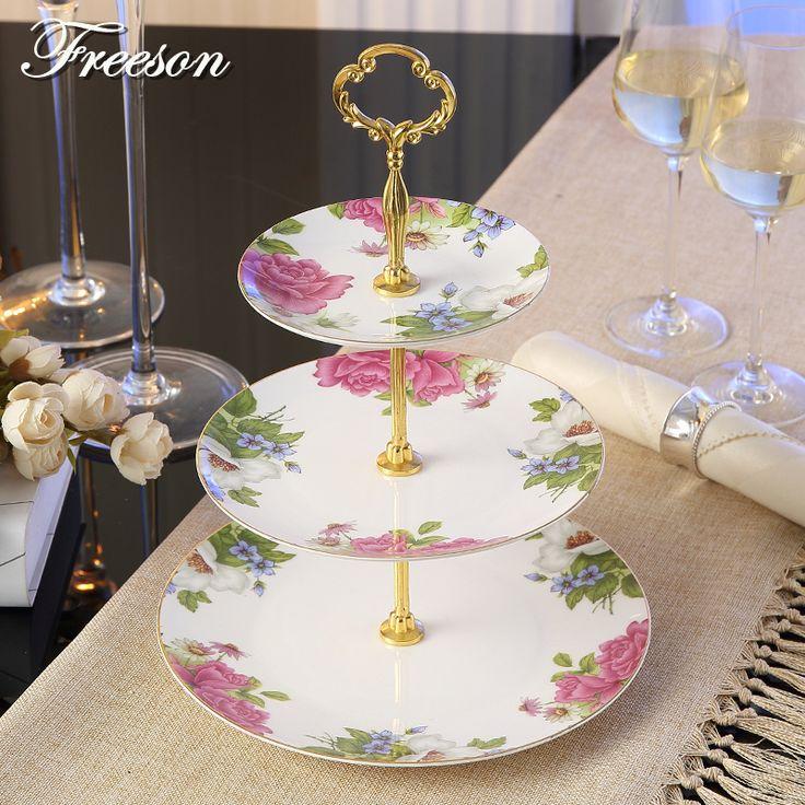 Europe Royal Bone China 3-Layer Dishes And Plates Sets Luxury Porcelain Cake Pastry Fruit Dish Advanced Ceramic Tray Home Decor