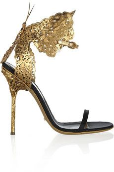 Sergio Rossi Cutout metallic leather and satin sandals | NET-A-PORTER