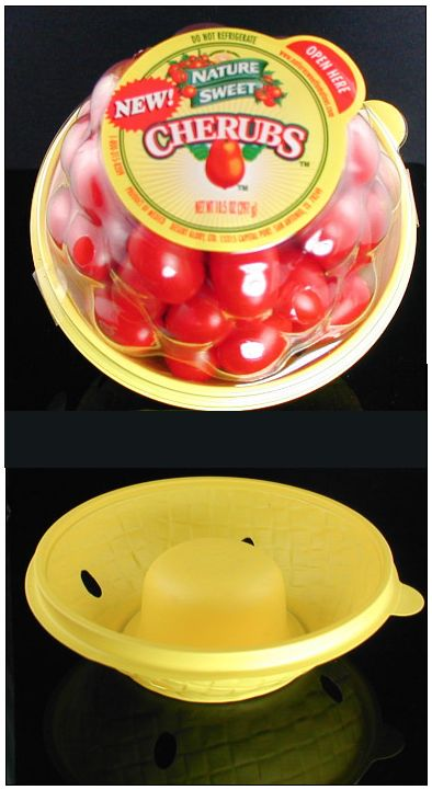 This cherry tomato packaging makes it look like you're getting a tub full of tomatoes but a look at the inside bowl reveals a rather prominent indent on the bottom.