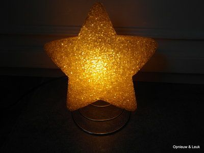Vintage Gele Tafellamp van een ster op spiraal jaren 70.