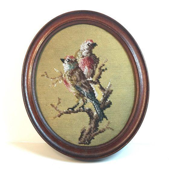 Antiek Victoriaanse kraal werken foto. Zaad Bead Embroidery. Vogel borduurwerk. Is Needlepoint 1800s No.0010