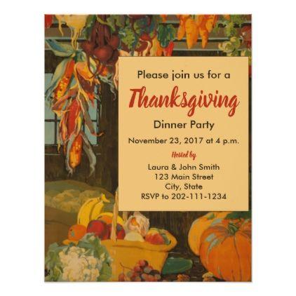 Vintage Harvest Thanksgiving Dinner Invitation