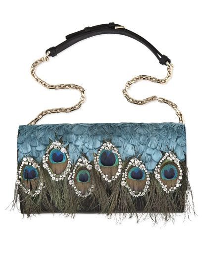 Satin/feather evening bag, Sergio Rossi essential peacock clutch purse must have