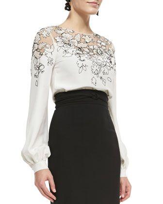 Lace-Embellished Silk Top by Oscar de la Renta at Bergdorf Goodman.