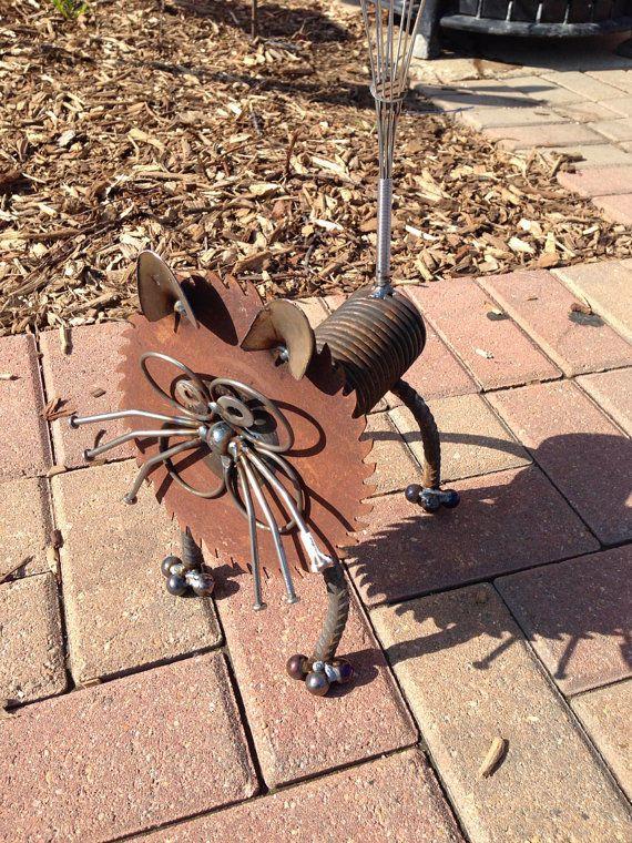Cat recycled garden yard art sculpture ebay junk art for Cat yard art