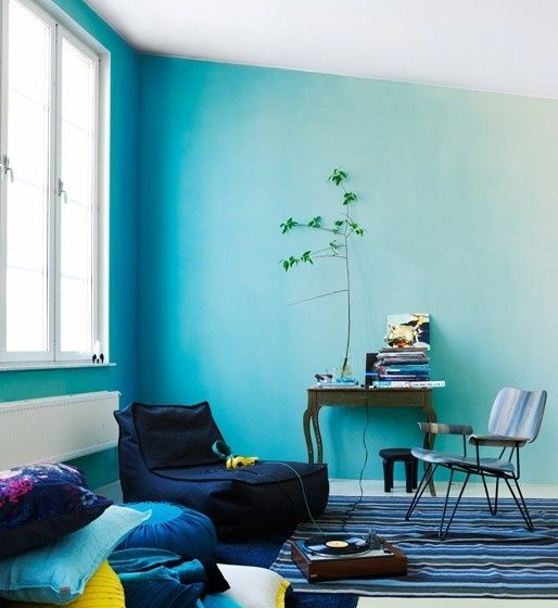 Paradise Blue Ombre Wall, photo by Magnus Anesund http://blog.purehome.com/2013/paradise-blue-decorative-accessories/