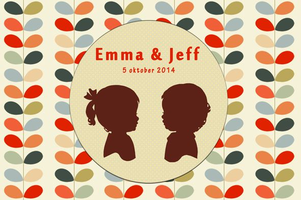Geboortekaartje tweeling - Emma & Jef - voorkant - Pimpelpluis - https://www.facebook.com/pages/Pimpelpluis/188675421305550?ref=hl (# vintage - retro - kleurrijk - tekst - ontwerp - tweeling - layout - origineel)