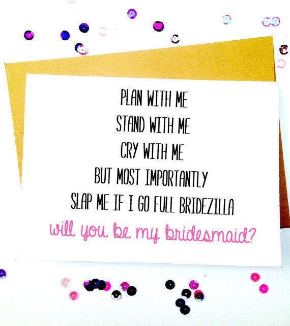 Funny Bridesmaid Card/Bridesmaid by LailaMeDesigns on Etsy -repinned from Los Angeles County & Orange County ceremony officiant https://OfficiantGuy.com