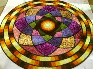 Rangoli made with flowers