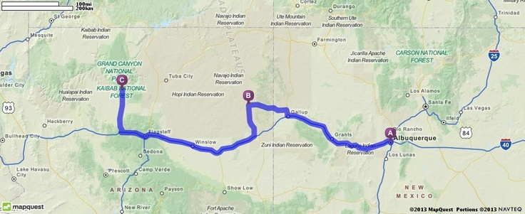 Driving Directions from Albuquerque, NM (Balloon Festival) to Ganado, AZ (Hubbell Trading Post) to Tusayan, AZ (Grand Canyon)| MapQuest