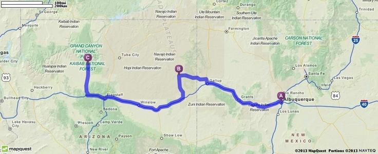 Driving Directions from Albuquerque, NM (Balloon Festival) to Ganado, AZ (Hubbell Trading Post) to Tusayan, AZ (Grand Canyon)| MapQuest