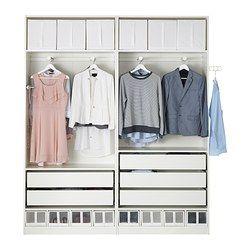 PAX Guardaroba, bianco, Uggdal vetro grigio - 200x44x236 cm - IKEA