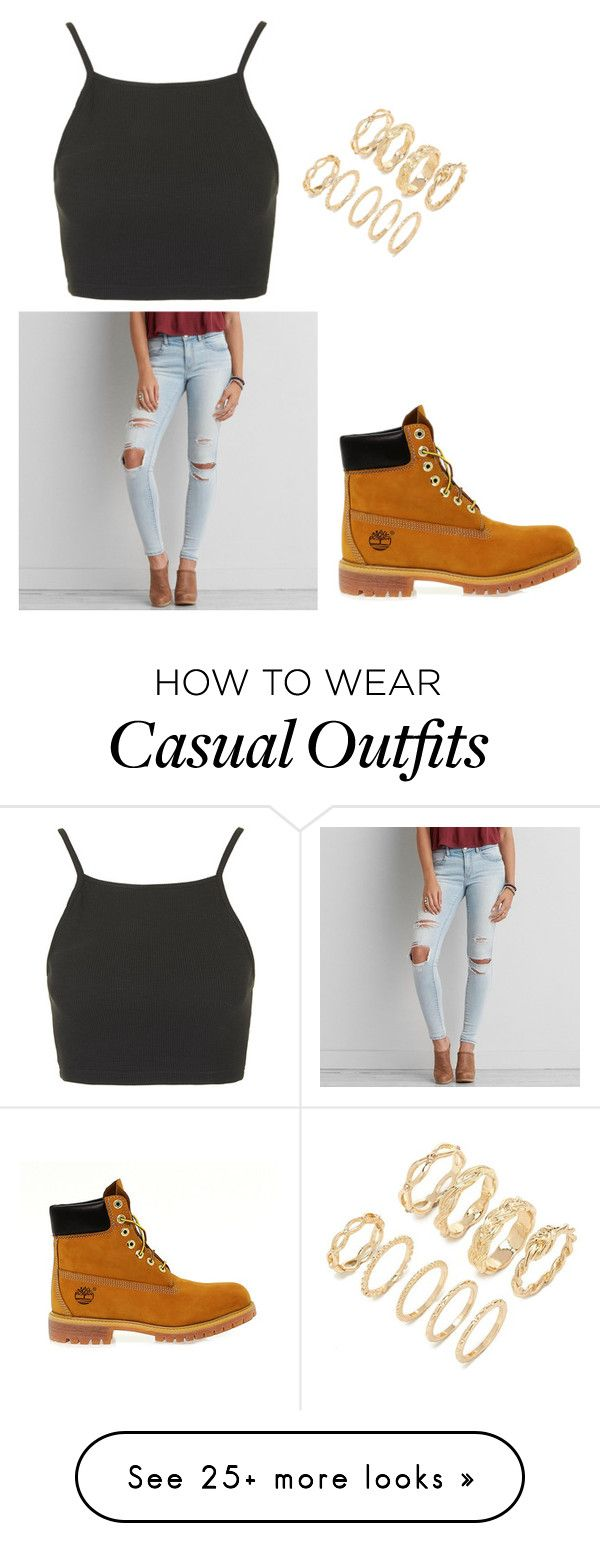 """Casual"" by madelynndancer on Polyvore featuring Topshop, American Eagle Outfitters, Timberland and Forever 21"