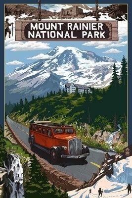 Mount Rainier National Park - Lantern Press Original Poster