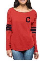 '47 Cleveland Indians Womens Courtside Red LS Tee