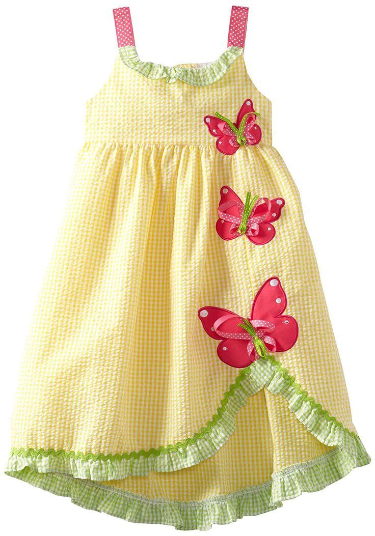 Amazon.com: Rare Editions Little Girls' Seersucker Dress, Yellow, 6: Playwear Dresses: Clothing