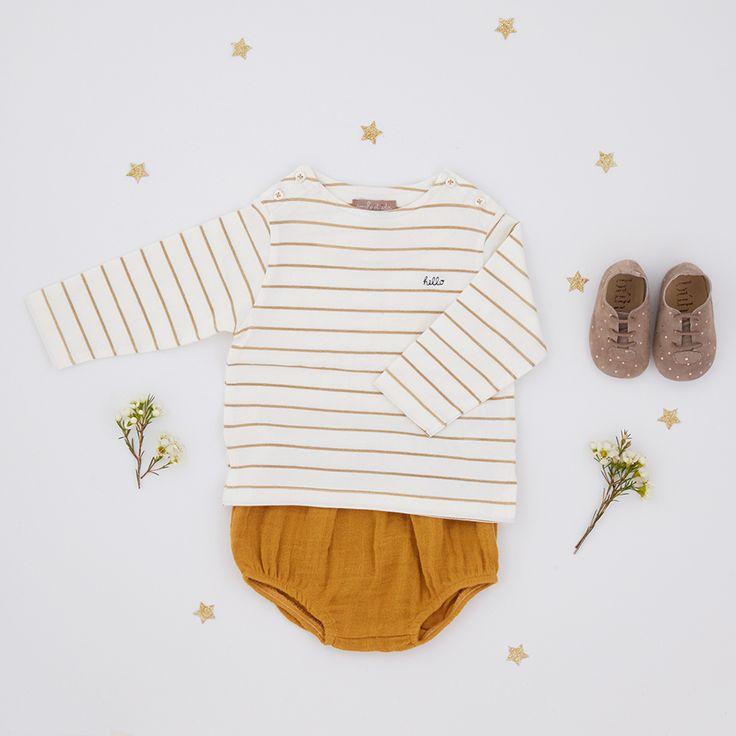 """Look • T-shirt marinière """"Hello"""" Emile et Ida • Bloomer uni Moumout' • Chausson pois doré Bùho  #look #enfant #baby #mode #naissance"""