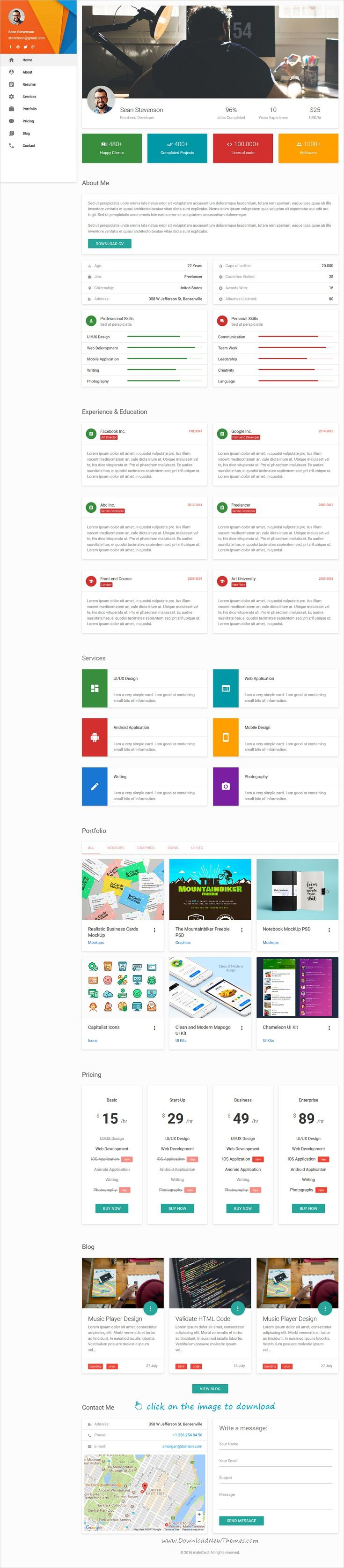 Resume Html Template Matecard  Materialize Vcardcvresume Html Template  Resume Cv