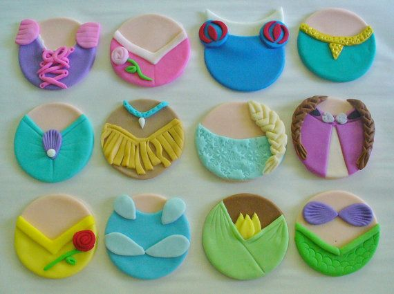 12 Edible Fondant DISNEY PRINCESS DRESSES Inspired Cupcake Toppers on Etsy, $28.00