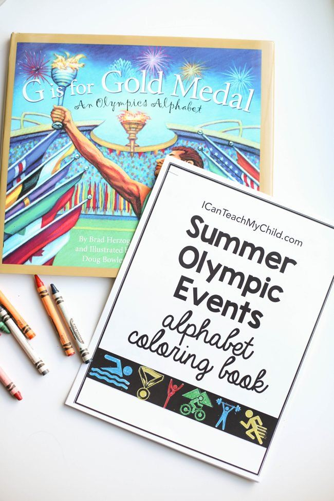 Summer Olympic Events Alphabet Coloring Book by Jenae It is the neatest alphabet book that is all about the history of the Olympics.  I purchased this book four years ago G is for Gold Medal inspired us to make our own Summer Olympic Events Alphabet Coloring Book!  This FREE printable book is perfect for encouraging kids to learn more about the individual Summer Olympic events.  It is extremely simple and would also work great for entertaining younger children while you watch the Olympics on…