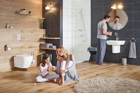 """Moderní koupelny se vyznačují barevností """"odkoukanou"""" z přírody, odolnými materiály a chytrými bateriemi"""