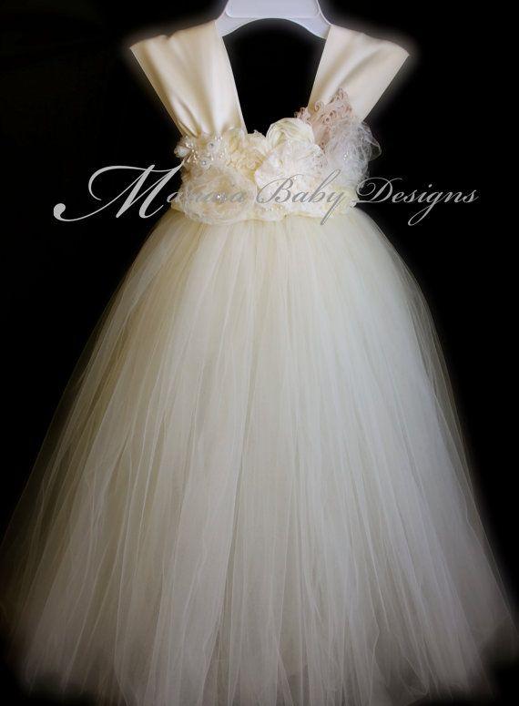 Ivory Vintage Tutu Dress / Ivory Flower Girl by ManaiaBabyDesigns, $124.00