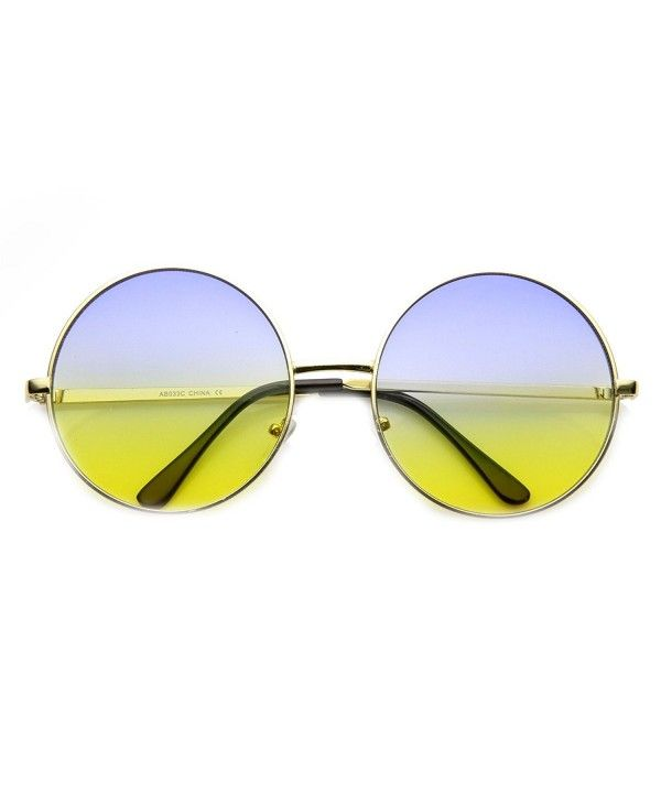 9cfbcf0938 Womens Large Oversized Color Tinted Metal Circle Round Sunglasses - Gold  Blue-yellow - CP11XN6TEVB