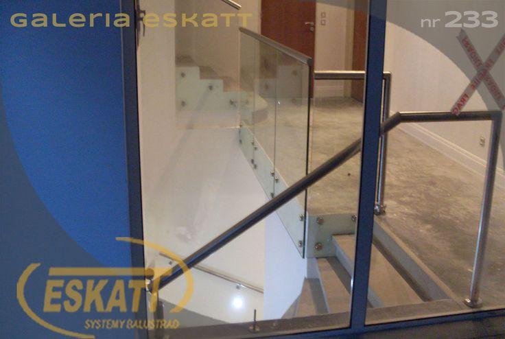 Glass balustrade with stainless steel handrails #balustrade #eskatt #construction #stairs