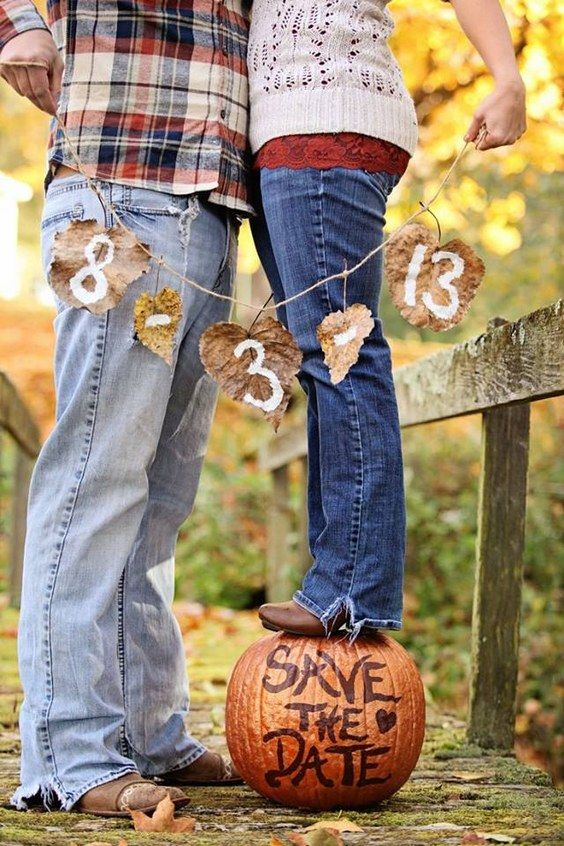 fall pumpkin save the dates / http://www.himisspuff.com/fall-pumpkins-wedding-decor-ideas/10/