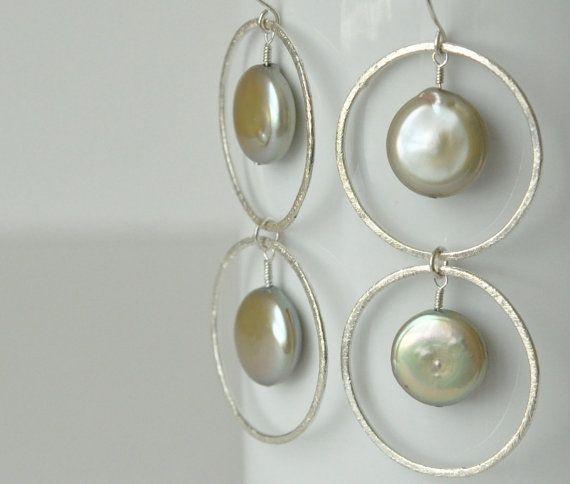 Zilveren Cirkel oorbellen dubbele parel oorbellen Bridal