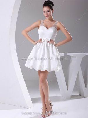 A-line Straps Satin Tulle Short/Mini Beading Wedding Dresses