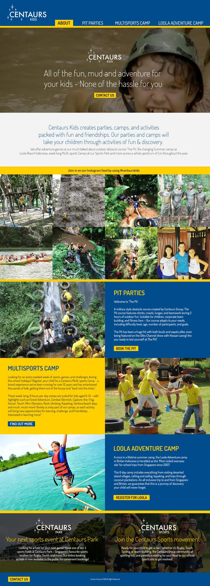 Website design & development for Singapore's pit parties and camp venue, Centaurs Kids