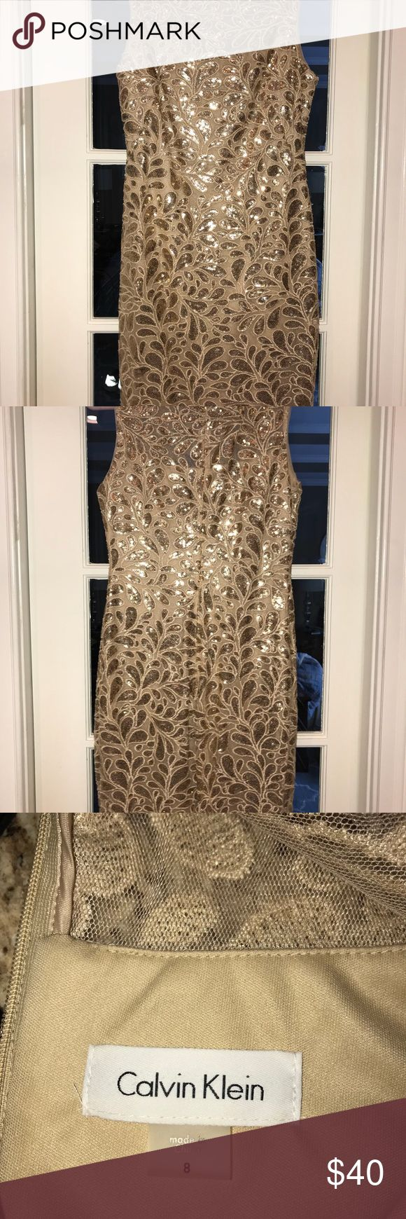 """sequin cocktail dress Gorgeous sleeveless cocktail dress in very good condition. Worn about 4 or 5 times. Zips in back. Very comfortable. (I'm 5'7"""", 140 pounds.) 37"""" long. Calvin Klein Dresses"""