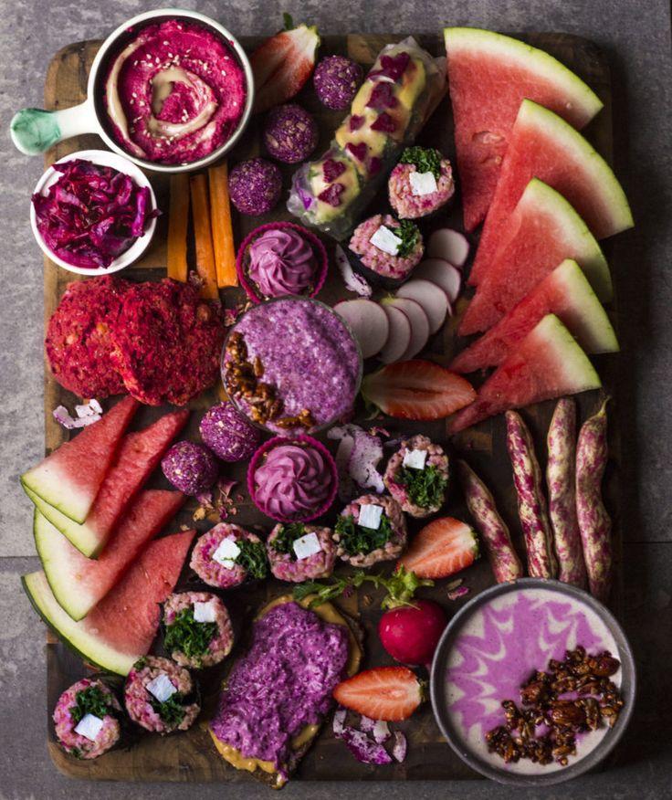 Pink dragon fruit platter