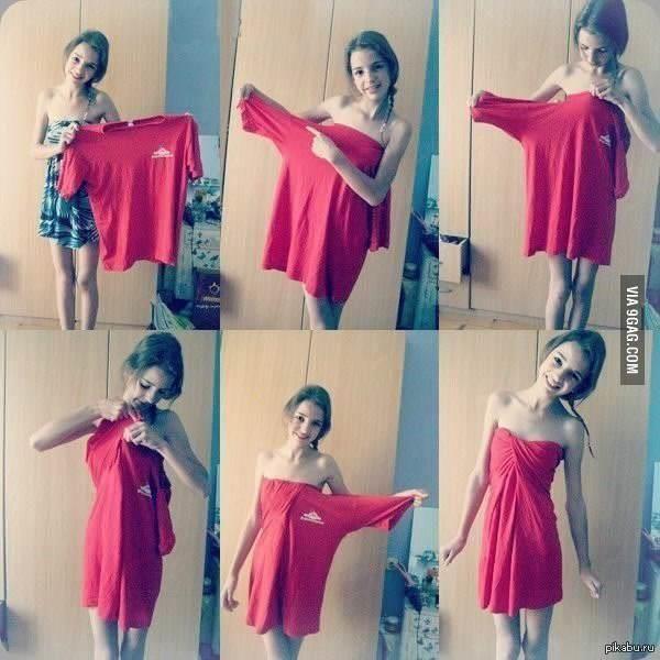 Кака сделать платье из футболки