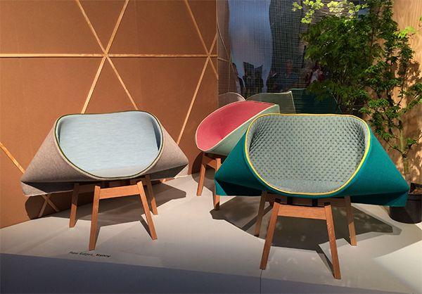 Cadeiras Kenny, projeto dos designers  Yael Mer e Shay Alkalay, da Raw Edges Design Studio - no estande da Moroso, na Feira do Móvel de Milão 2014. #isaloni2014