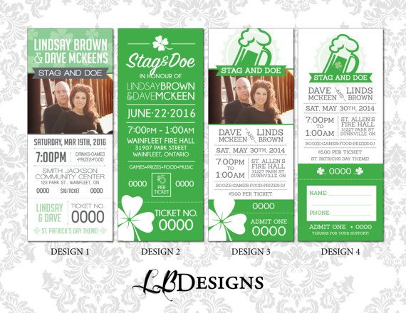 STAG & DOE TICKETS  St. Patrick's Day by LindsayBrownDesigns