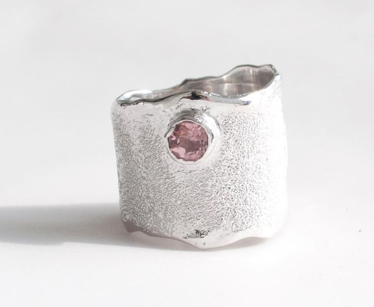Pink Tourmaline silver ring, wide silver ring, pink stone ring rough wide silver ring textured made in Greece