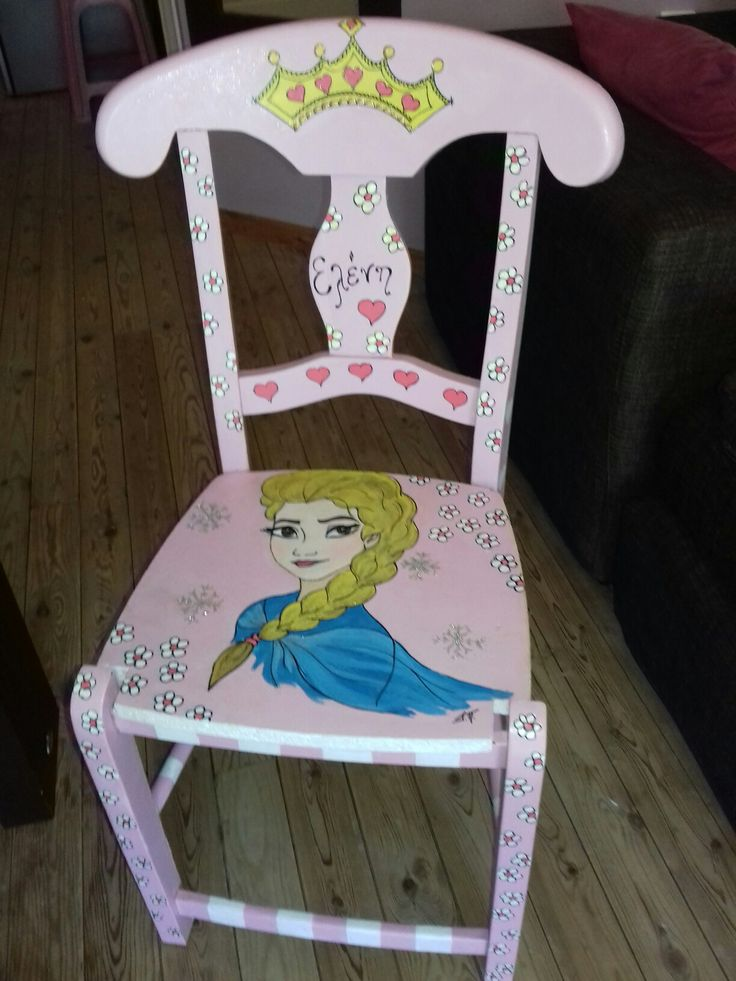 pink handpainted wooden  chair for girls