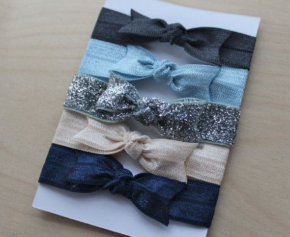 Set of 5 Bow Elastic Hair Ties in Charcoal, Light Blue, Ivory, Navy and Silver Glitter on Etsy, $5.50