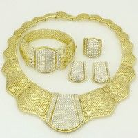 Wish | 2016 Dubai Luxury Jewelry Sets 18K Gold-plated Crystal Wedding Jewelry Bridal Jewelry Africa and India (Color: Gold)