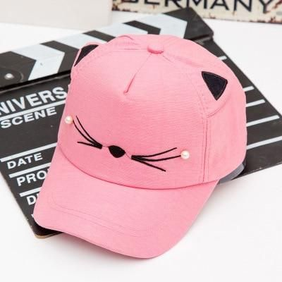 6f14dcac780 Summer children net cap adjustable cute embroidered hat cat ears ...