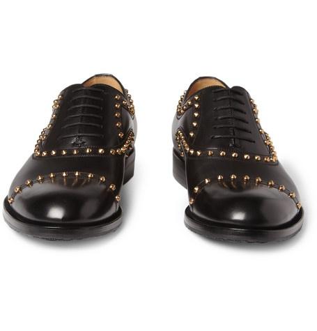 #studs #gucci #gold #oxford #black #shoes #man
